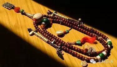 袈裟,项珠,哈达属于礼敬类法器;钟,鼓,骨笛,海螺,六弦琴,大号属于称赞图片